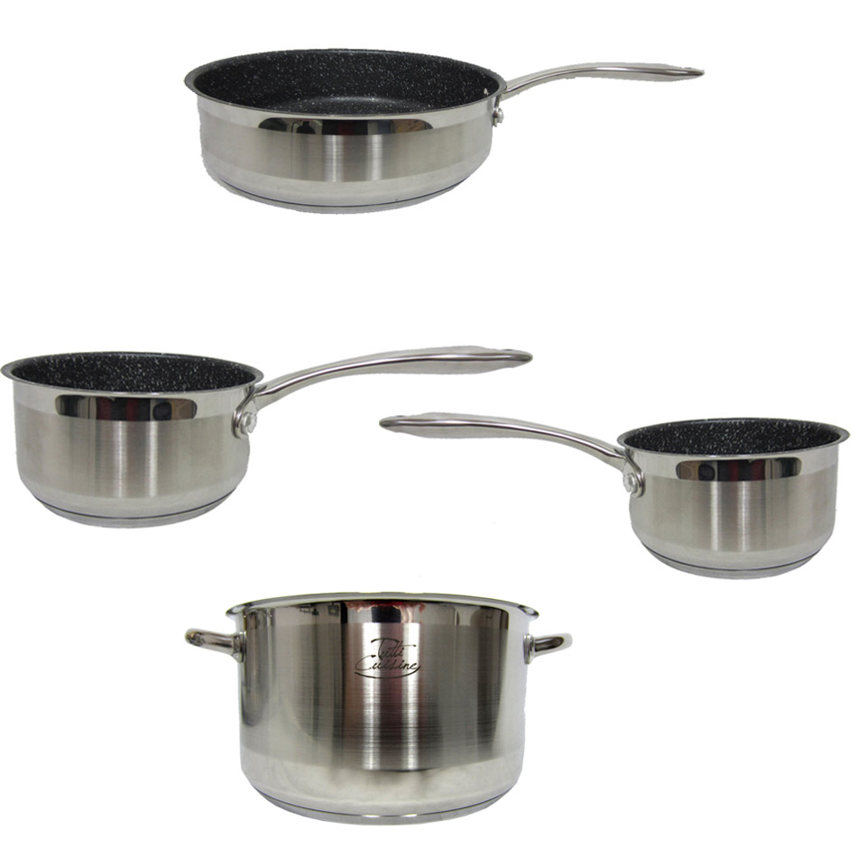Set sauteuse faitout et 2 casseroles pierre rev tement for Nettoyer exterieur casserole inox