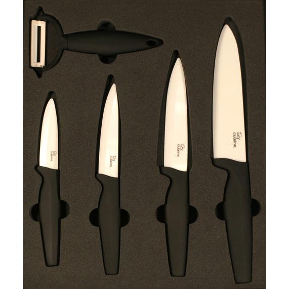 coffret 4 couteaux en cramique lame de 15 125 10 et 75 cm 1 conome en cramique avec manche noir les couteaux cramiques sont de vrais couteaux - Coffret Couteau Ceramique