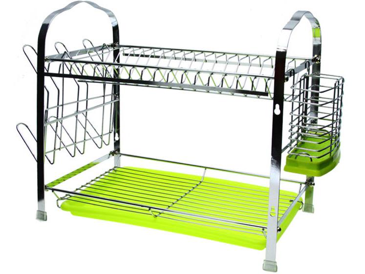 egouttoir vaisselle double tage en m tal chrom. Black Bedroom Furniture Sets. Home Design Ideas